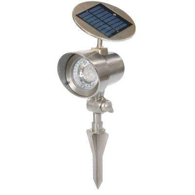 White Solar Powered 16-Bright LED Pewter Spot Light