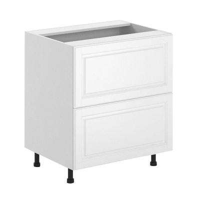 Birmingham Ready to Assemble 30 x 34.5 x 24.5 in. 2-Deep Drawer Base Cabinet in White Melamine and Door in White