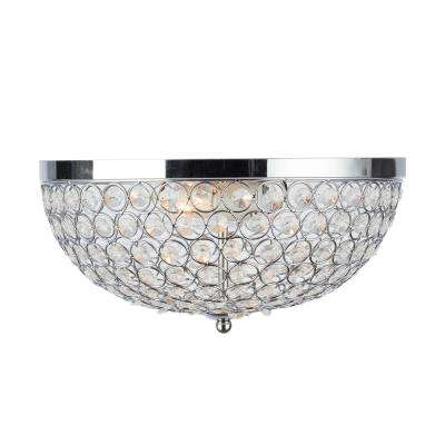 2-Light Chrome and Crystal Flush Mount