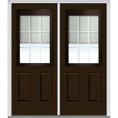 72 in. x 80 in. Internal Blinds and Grilles Right-Hand 1/2-Lite Clear Low-E Painted Fiberglass Smooth Prehung Front Door