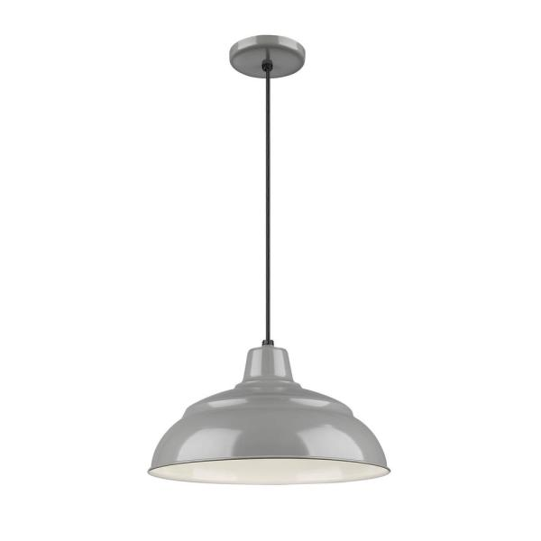 15 in. 1-Light Gray Warehouse/Cord Hung