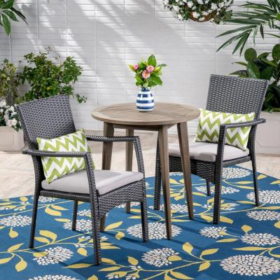 Noble House Arezzo Gray 3-pc Wood and Wicker Outdoor Bistro Set w/ Gray Cushions