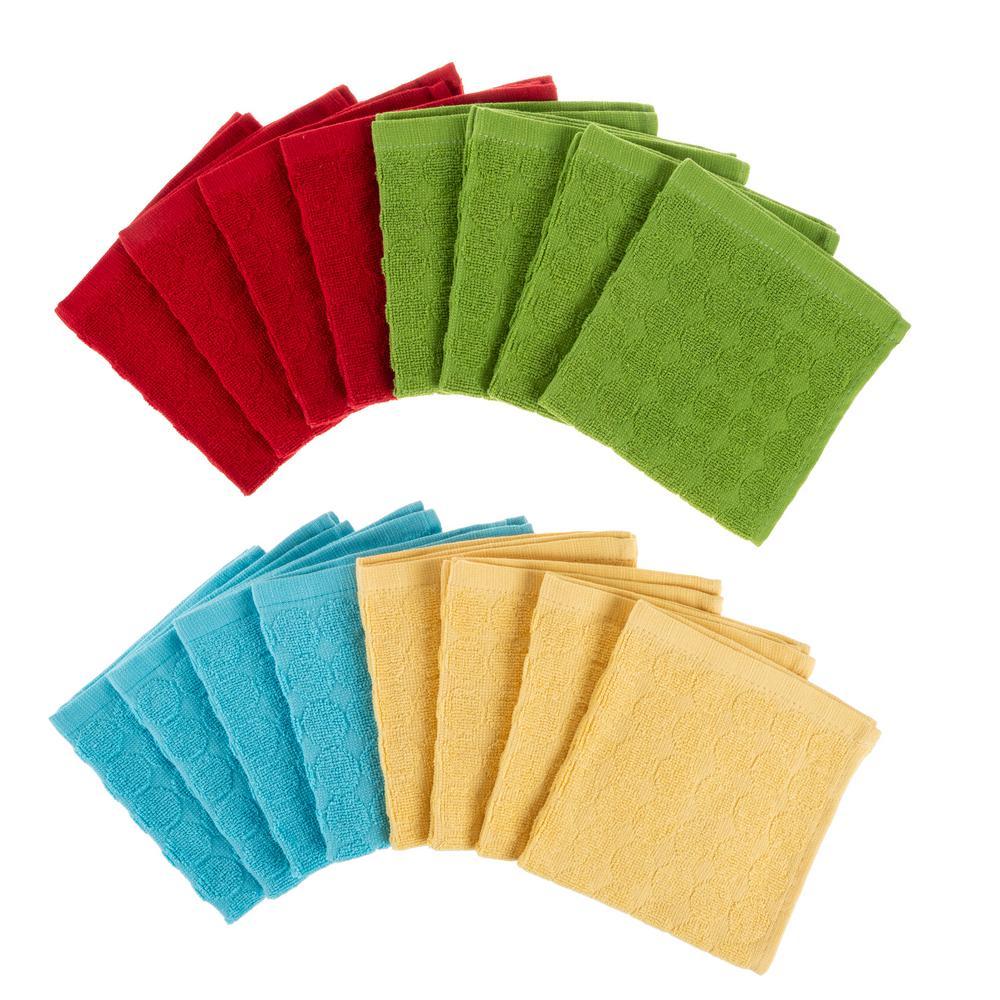 Multi-Color Circle Pattern Weave Cotton Kitchen Dish Cloth Set (16-Pieces)