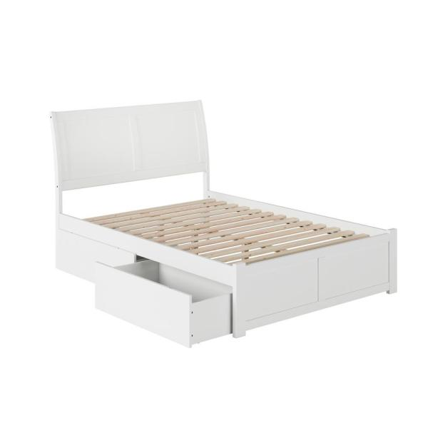 Portland Full Platform Bed with Flat Panel Foot Board and 2-Urban Bed Drawers in White