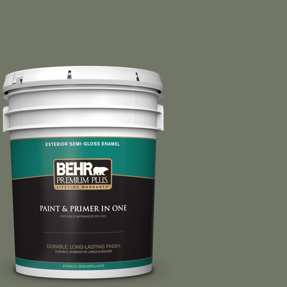 5 gal. #PPU10-19 Conifer Green Semi-Gloss Enamel Exterior Paint