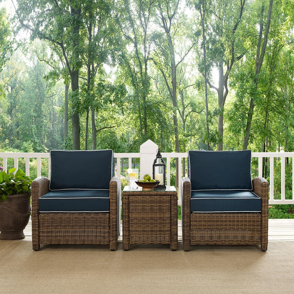 Crosley Bradenton 3 Piece Wicker Outdoor Conversation Set With Navy Cushions 2 Arm Chairs