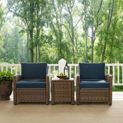 Bradenton 3-Piece Wicker Outdoor Conversation Set with Navy Cushions - 2 Arm Chairs and Side Table