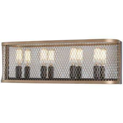 Marsden Commons 4-Light Smoked Iron with Aged Gold Bath Light