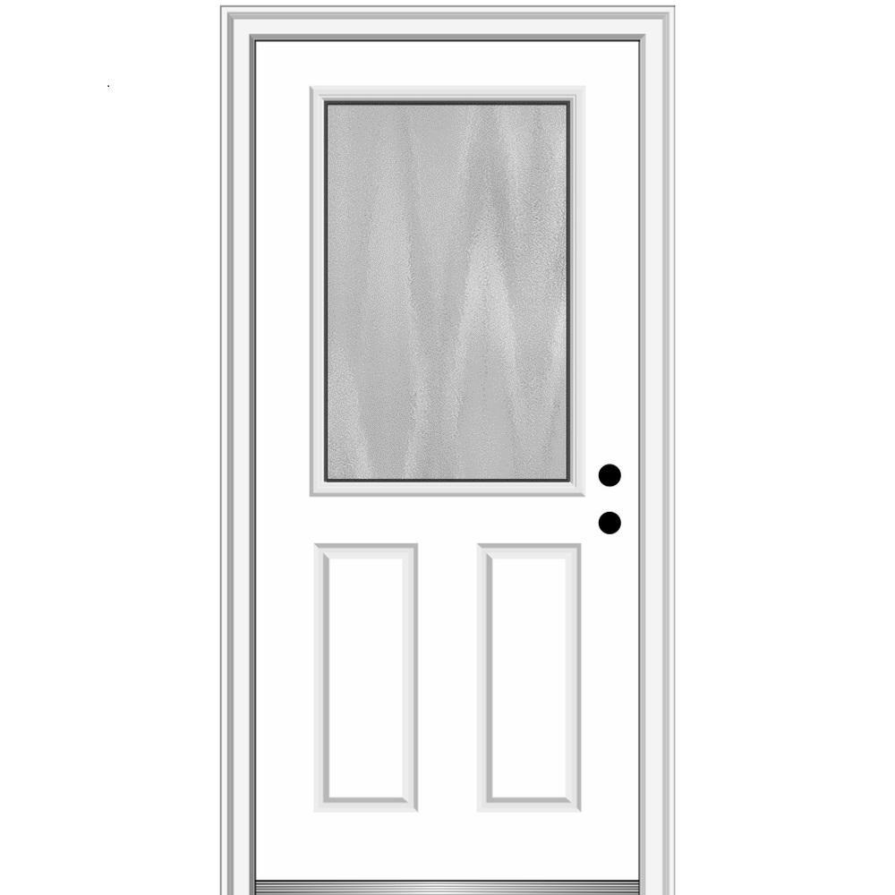 Mmi Door Chinchilla 32 In X 80 In Left Hand Inswing 1 2 Lite 2 Panel Primed Fiberglass Prehung Front Door With 6 9 16 In Frame Z0371200l The Home Depot