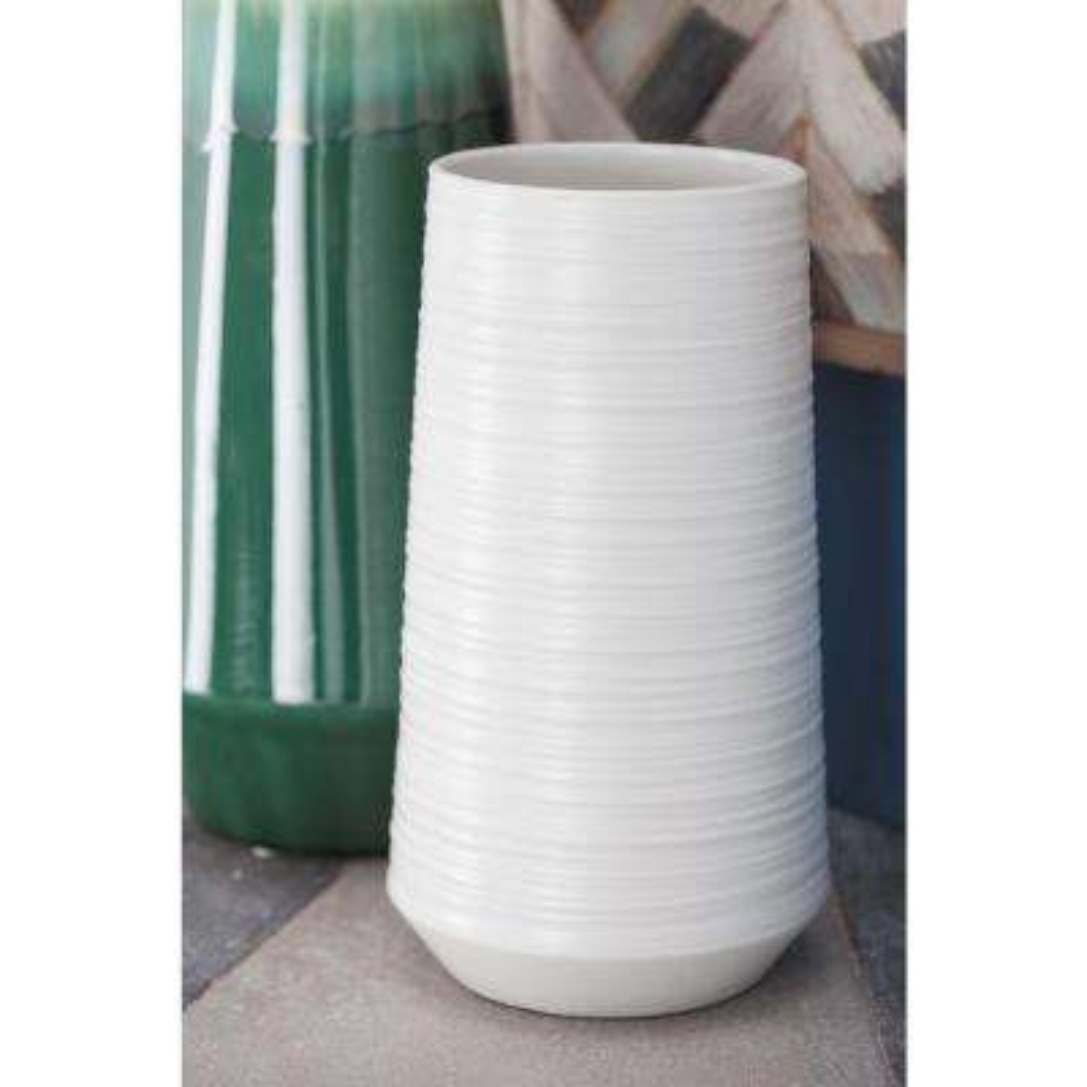 12 in. Ceramic Pear-Shaped Decorative Vase in White