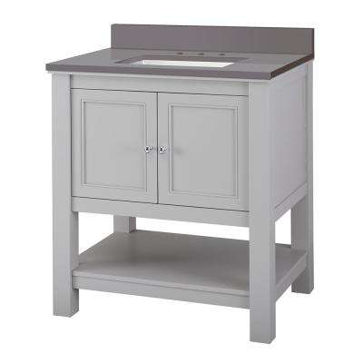 Gazette 31 in. W x 22 in. D Bath Vanity Cabinet in Grey with Engineered Marble Vanity Top in Slate Grey with White Sink