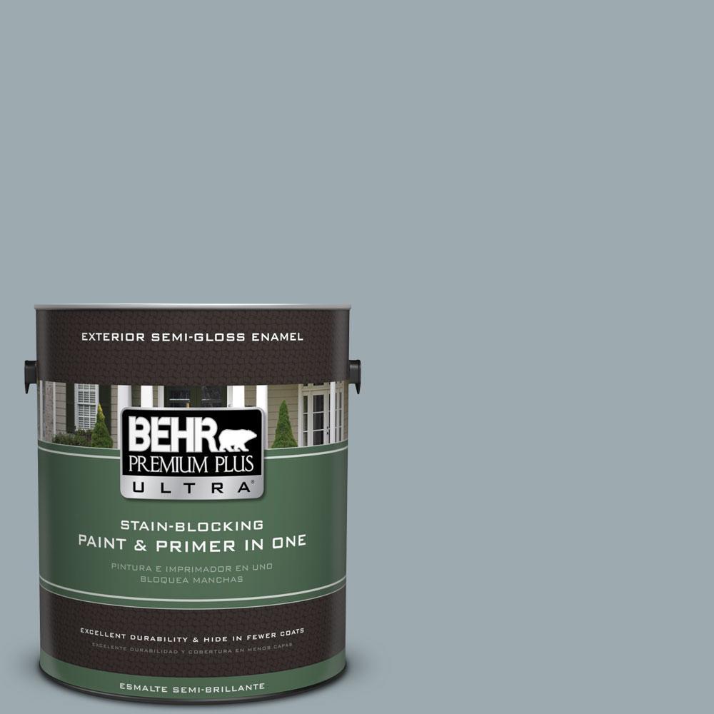 BEHR Premium Plus Ultra 1-gal. #ECC-30-1 Pelican Bay Semi-Gloss Enamel Exterior Paint