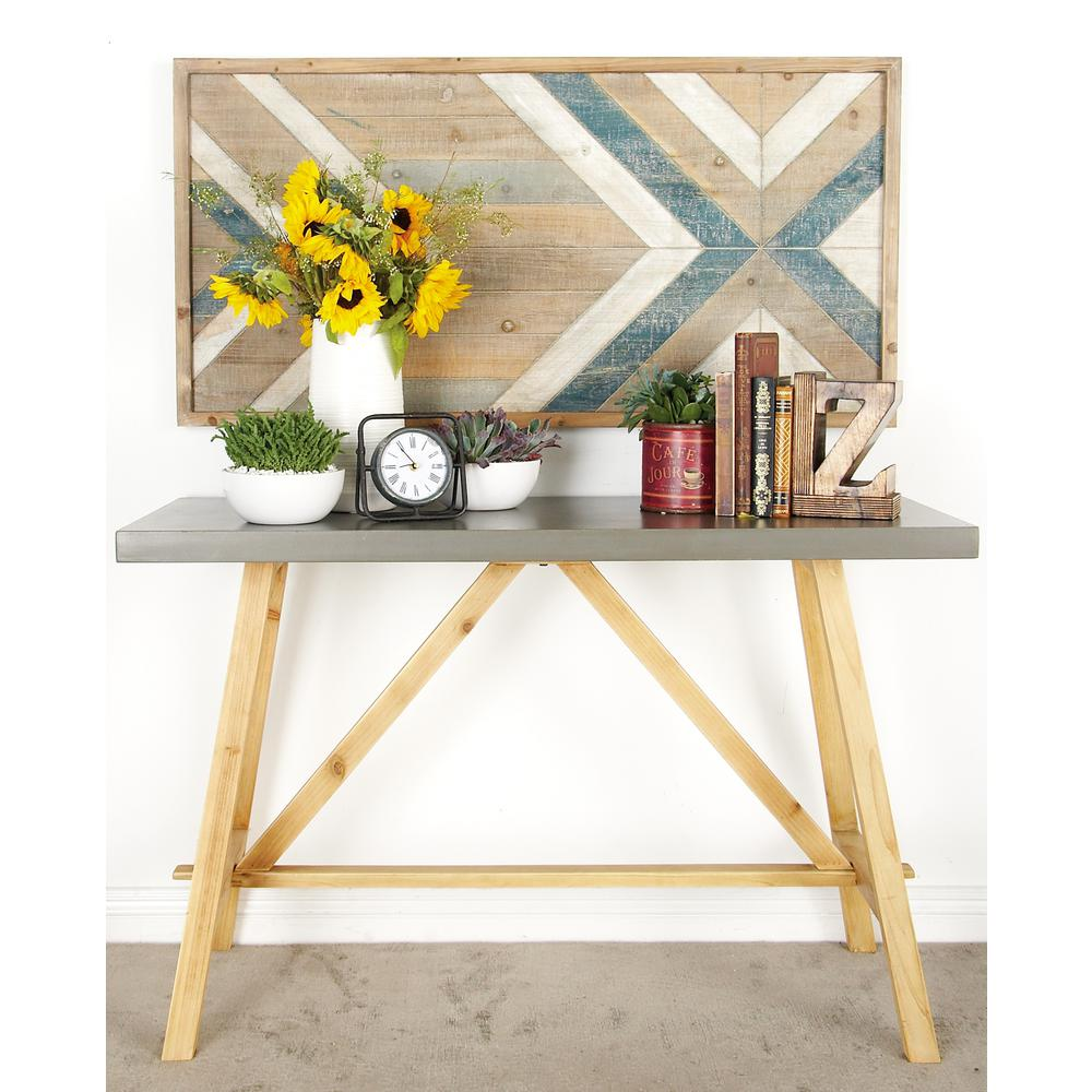 Gray Rectangular Console Table with Natural Brown Legs