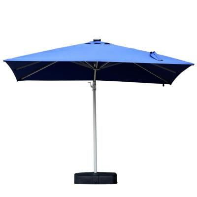 Lewis 10 ft. Cantilever Patio Umbrella with Led Lights and Base in Blue