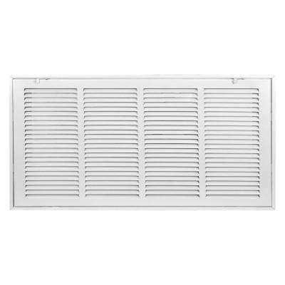 25 in. x 14 in. white return air filter grille is designed to cover rectangular duct opening