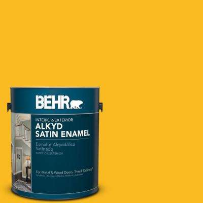 1 gal. #HDC-MD-02A Yellow Groove Satin Enamel Alkyd Interior/Exterior Paint