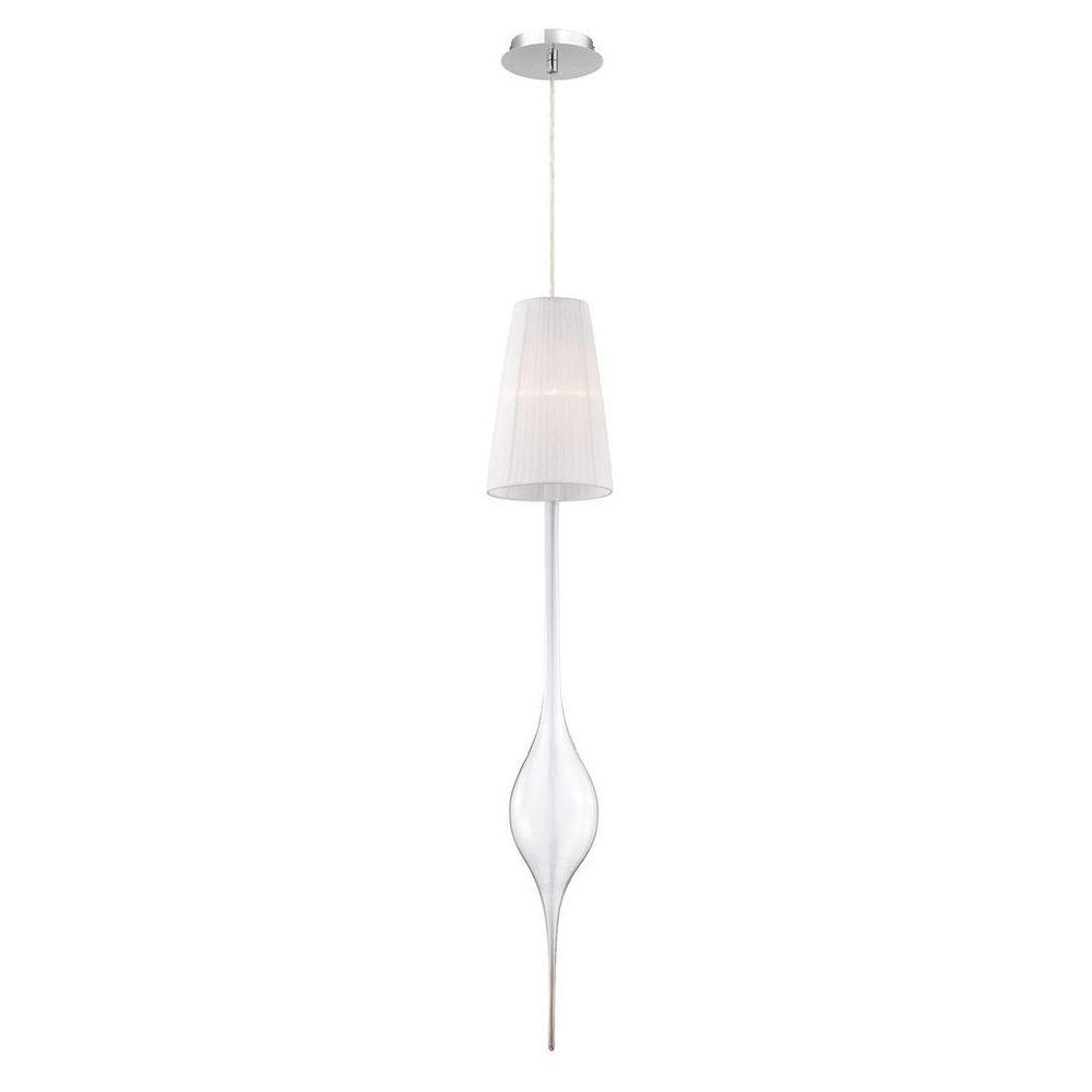 Aqua Collection 1-Light Chrome Large Pendant with White Shade and Clear