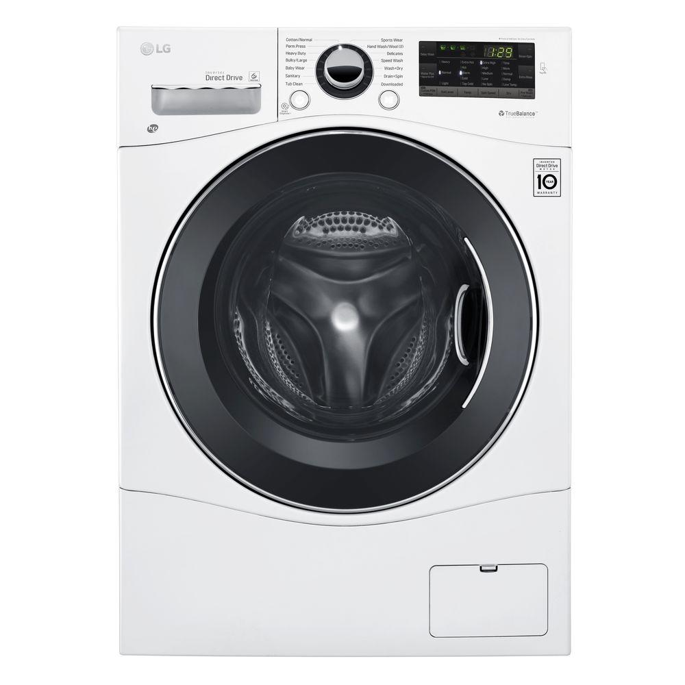 Lg Electronics 2 3 Cu Ft White Compact All In One Front Load Washer And Electric Ventless Dryer Combo Wm3488hw The Home Depot