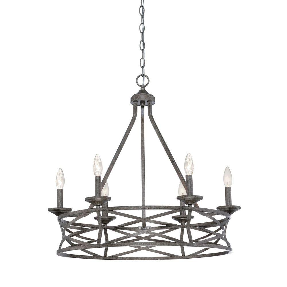 6 Light Antique Silver Chandelier