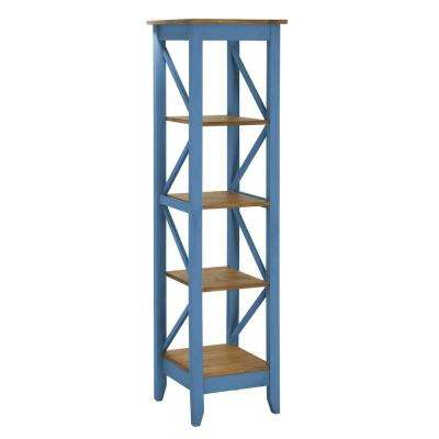 Jay 18.5 in. Blue Wash Solid Wood Bookcase with 4-Shelves