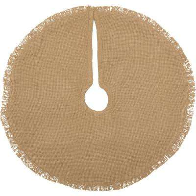 21 in. Natural Festive Burlap Farmhouse Christmas Decor Mini Tree Skirt