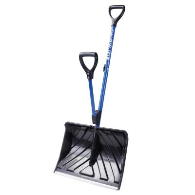 Shovelution 20 in. Poly Blade Back Saving Telescoping Snow Shovel w/ Spring Assisted Handle