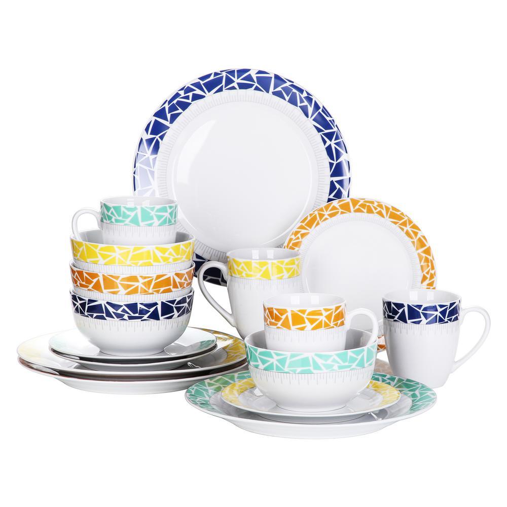 16-Piece Assorted Colors Porcelain Dinnerware Set Plates and Bowls Set Mugs (Service for 4)