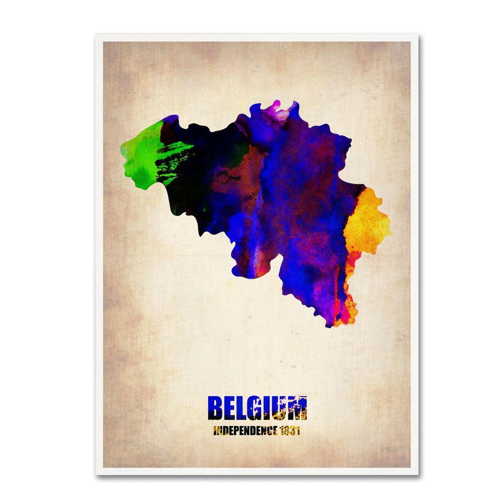 Trademark Fine Art 32 in. x 24 in. Belgium Watercolor Map Canvas Art