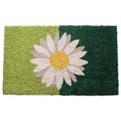 One Daisy On Green 17 in. x 28 in. Non Slip Coir Door Mat