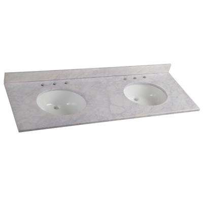 61 in. W Stone Effects Double Basin Vanity Top in Carrera with White Basins