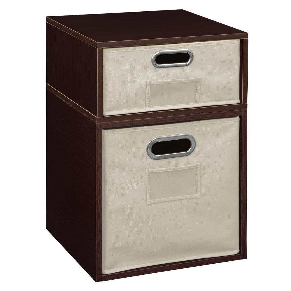 20 in. H x 13 in. W x 13 in. D Truffle Wood 2-Cube Storage Organizer