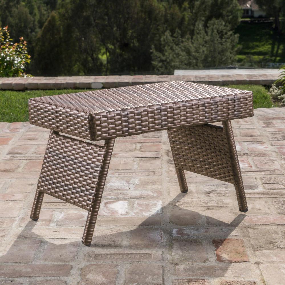Salem 15.75 in. Mixed Mocha Rectangular Metal Outdoor Side Table