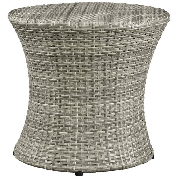 Stage Patio in Light Gray Wicker Outdoor Side Table