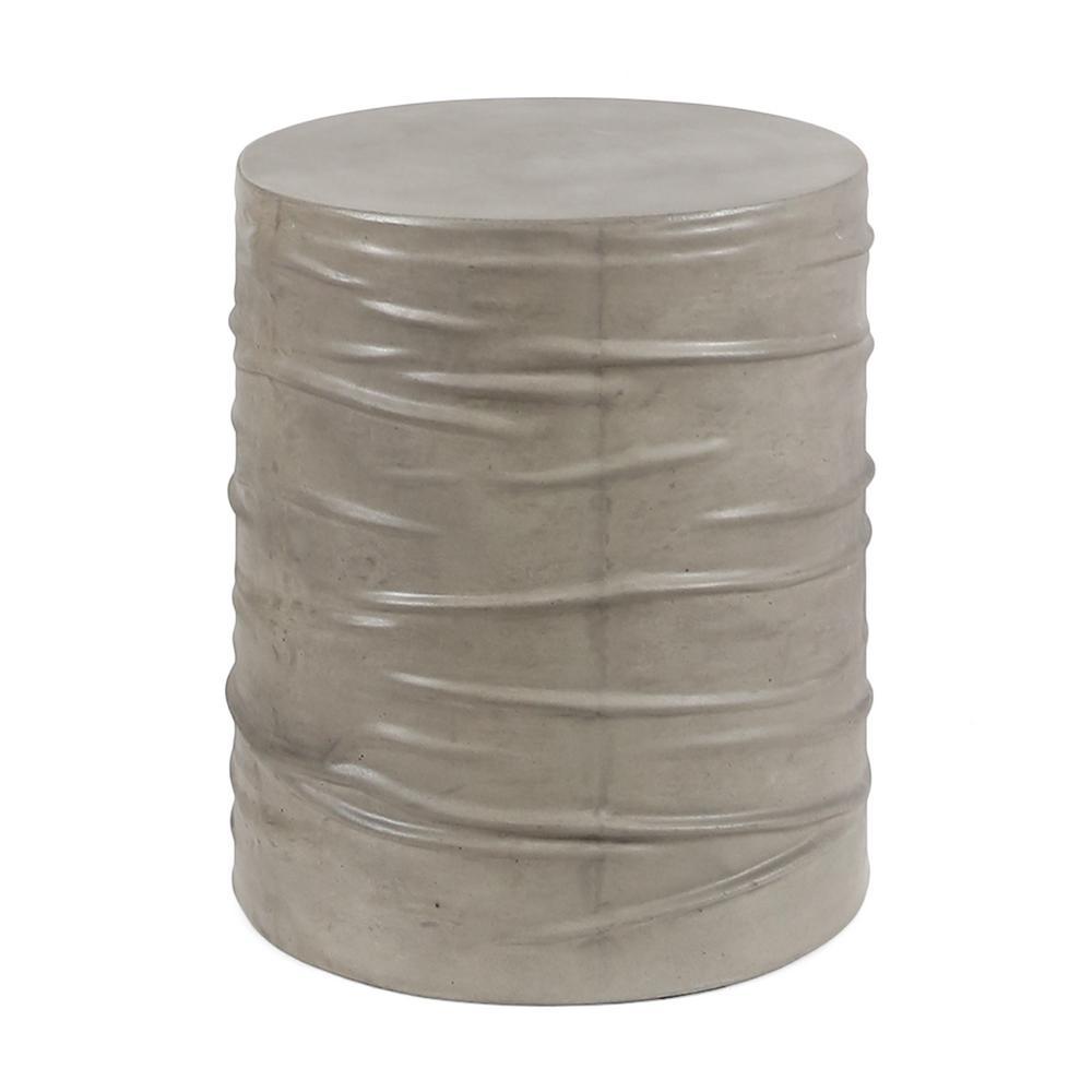 Zapara Light Grey Round Stone Outdoor Side Table