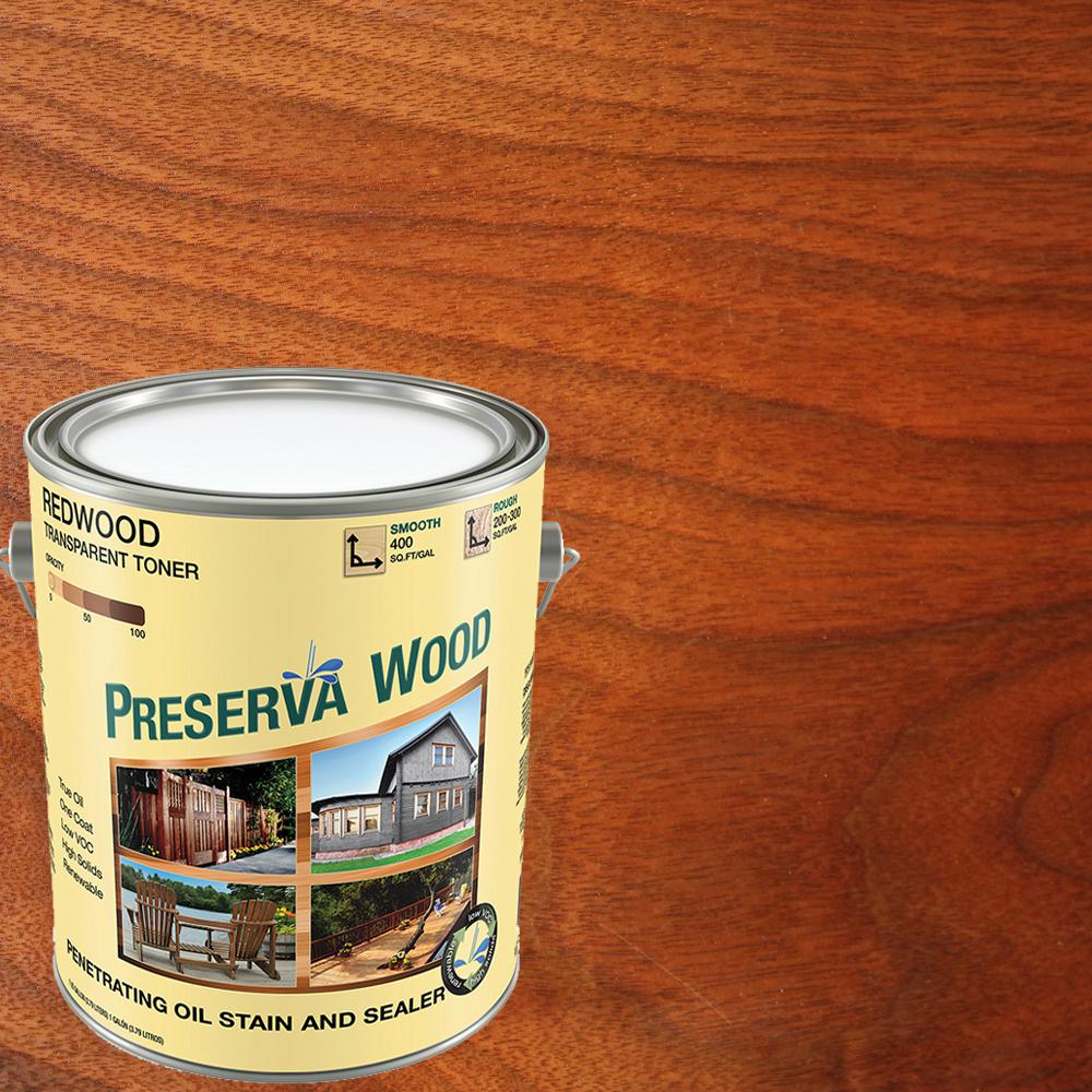 Preserva Wood 1 Gal Oil Based Redwood Penetrating Exterior Stain And Sealer 40102 The Home Depot