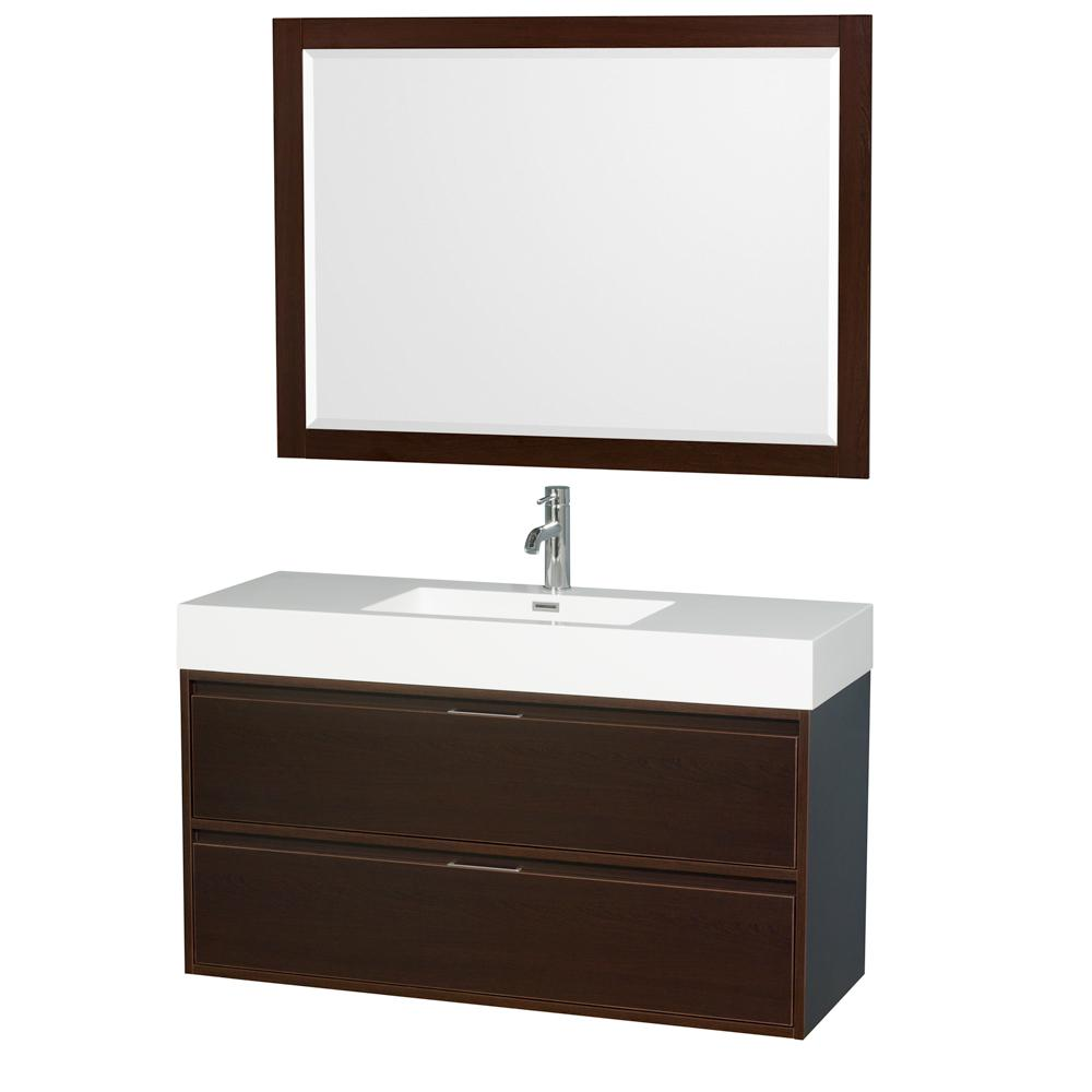 Wyndham Collection Daniella 47.3 in. W x 18 in. D Vanity in Espresso with Acrylic Vanity Top in White with White Basin and 46 in. Mirror