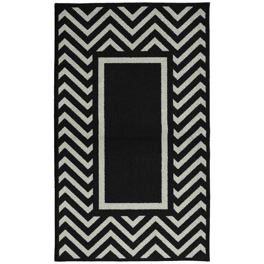 Black And White Chevron Bathroom Rug: Garland Rug Chevron Frame Black/Silver 5 Ft. X 7 Ft. Area