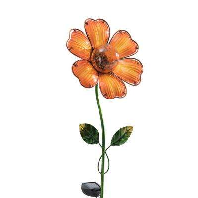 Orange Flower LED Solar Garden Stake