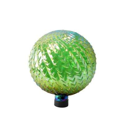 10 in. Green Glass Gazing Globe with Arrow Texture