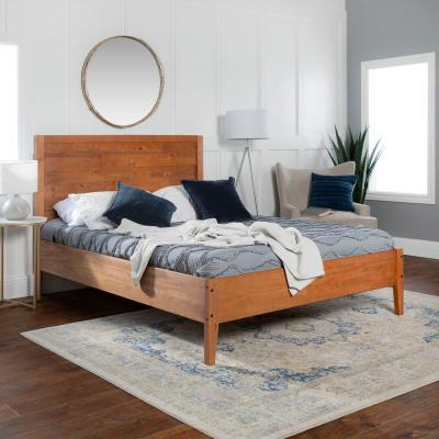 Plank Distressed Caramel Queen Solid Wood Bed