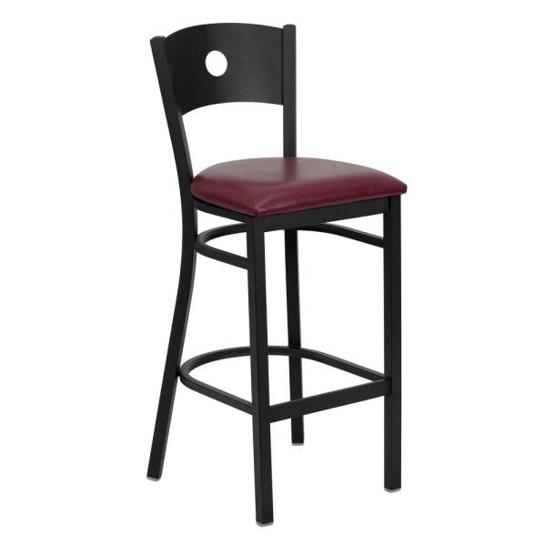 Flash Furniture 31 in. Black and Burgundy Cushioned Bar Stool XUDG620CIRBBURV