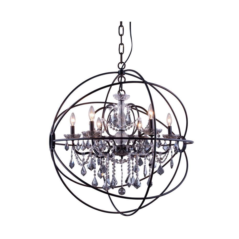 Geneva 6-Light Dark Bronze Chandelier with Silver Shade Grey Crystal