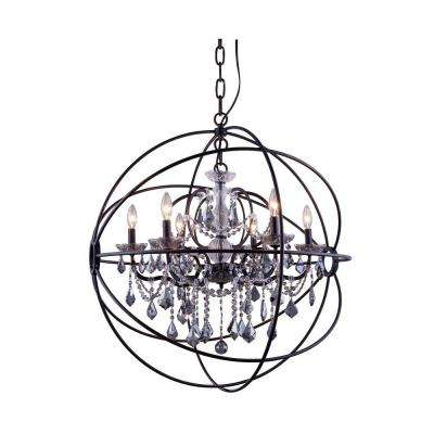 Geneva 6-Light Dark Bronze Chandelier with Silver Shade Grey Crystal