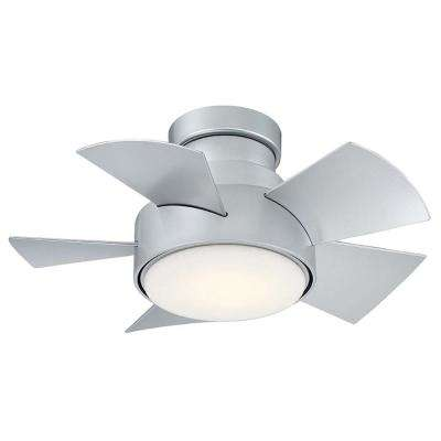 Vox 26 in. LED Indoor/Outdoor Titanium Silver 5-Blade Smart Flush Mount Ceiling Fan w/ 3000K Light Kit and Wall Control