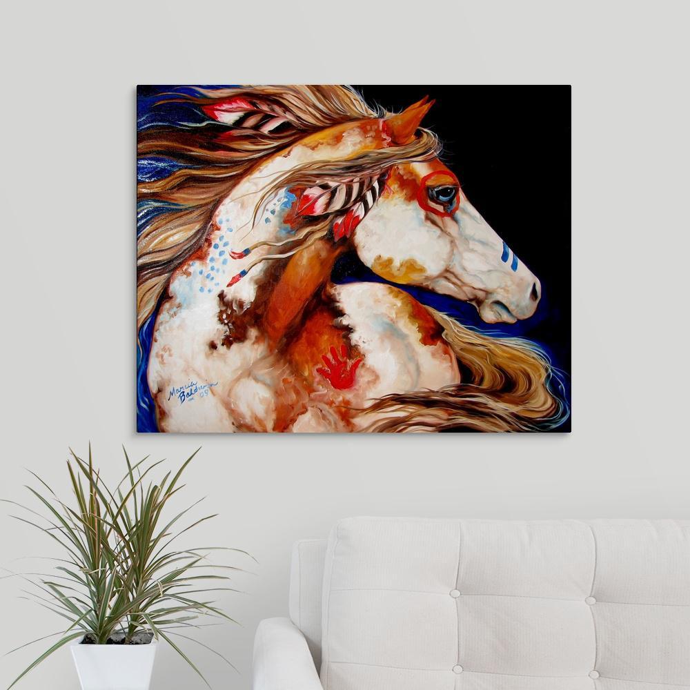 """Indian War Horse"" by Marcia Baldwin Canvas Wall Art"