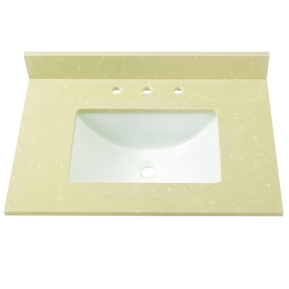 31 in. W Engineered Marble Single Basin Vanity Top in Crema