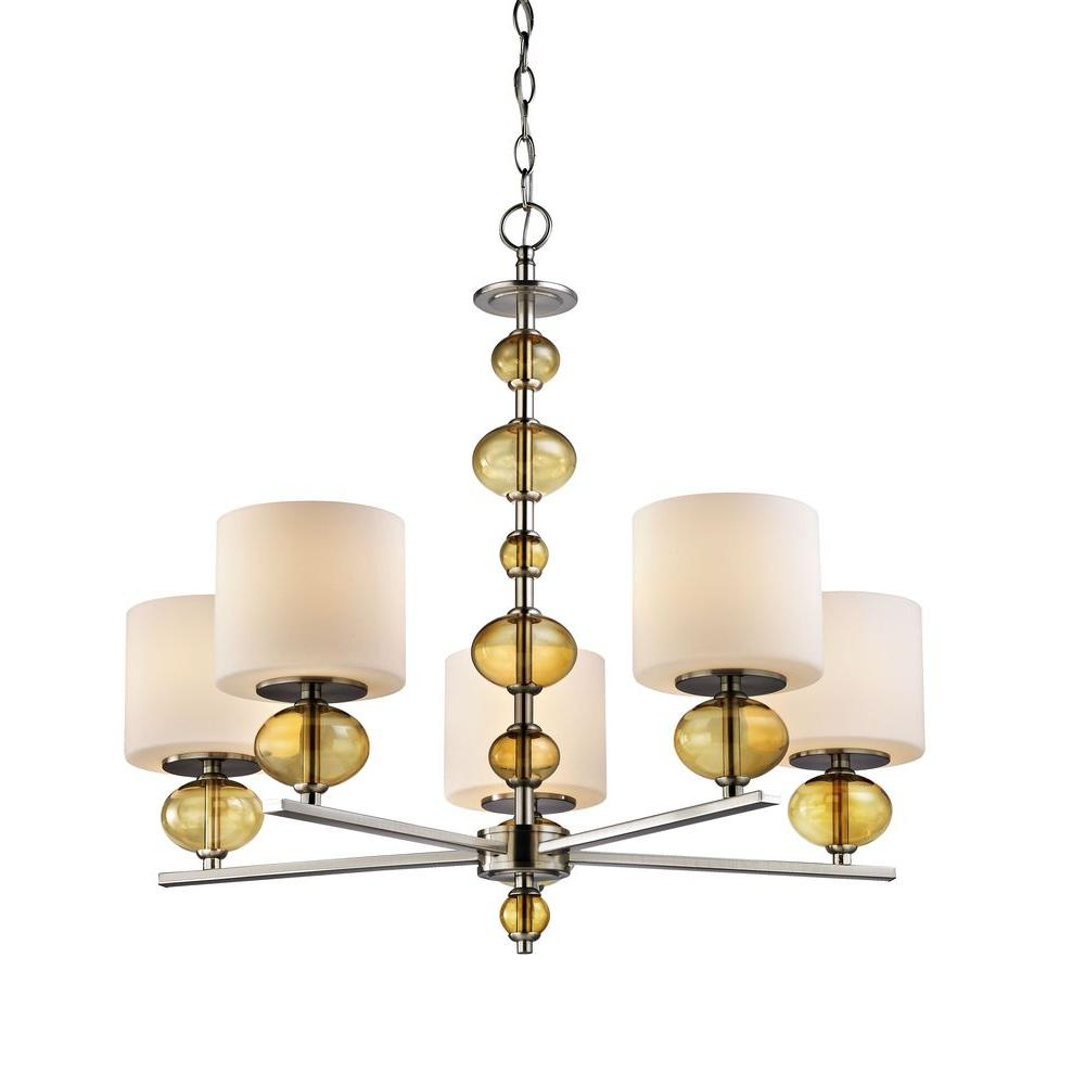 fifth and main lighting 5 light satin nickel chandelier with etched opal glass shades and amber. Black Bedroom Furniture Sets. Home Design Ideas