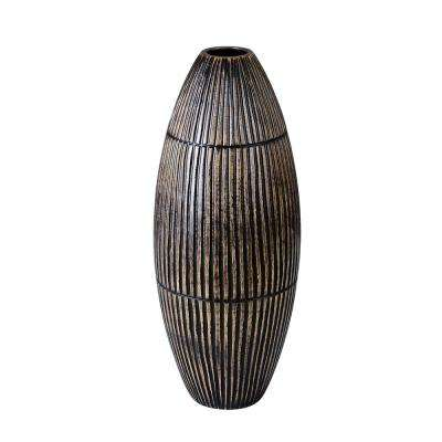 15 in. Black Decorative Handmade Oval Mango Wood Vase