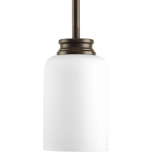 Orbit Collection 1-Light Antique Bronze Mini Pendant with Opal Etched Glass