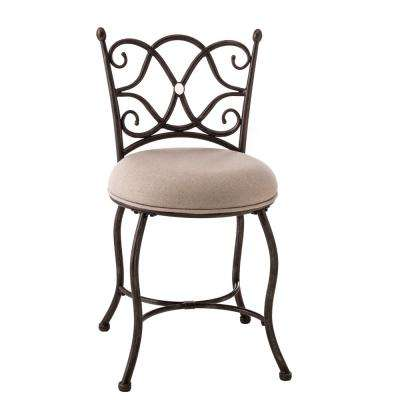 Brody Grey Fabric Vanity Stool